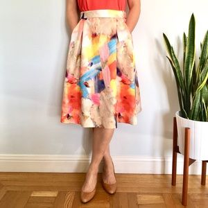 Full Skirt with Watercolor Print